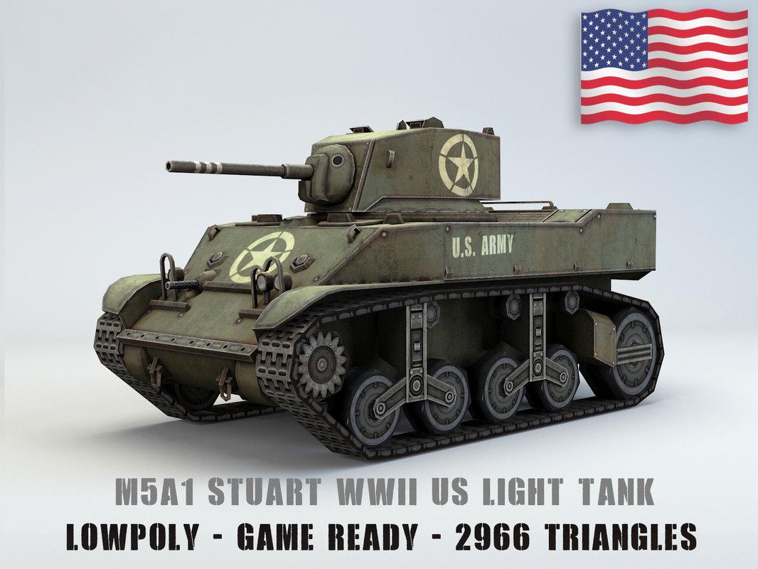 3D model american light tank m3a1 stuart