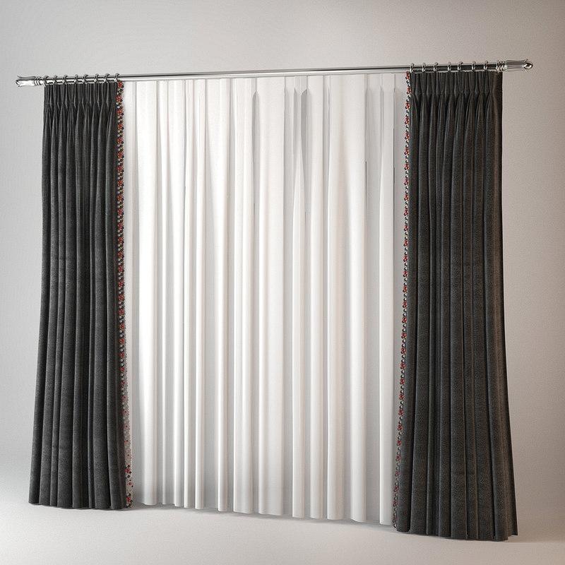 3dsmax curtains art deco velvet