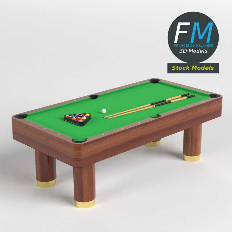 3D pool snooker table set