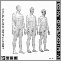 Male Low Poly Base Mesh Rest Pose