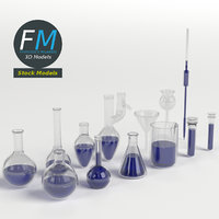 3D set chemistry lab glassware