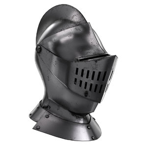 medieval knight armet helmet visor 3D model
