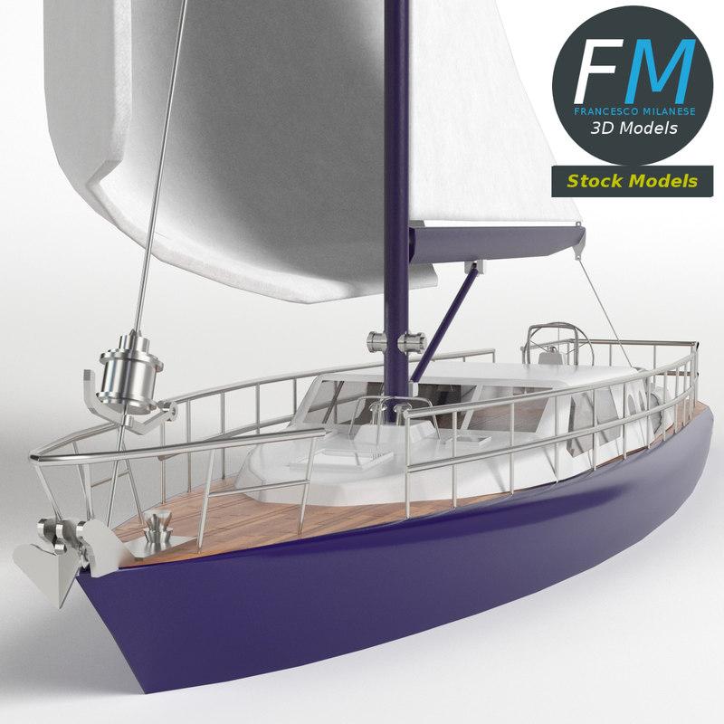 3D regatta sailboat