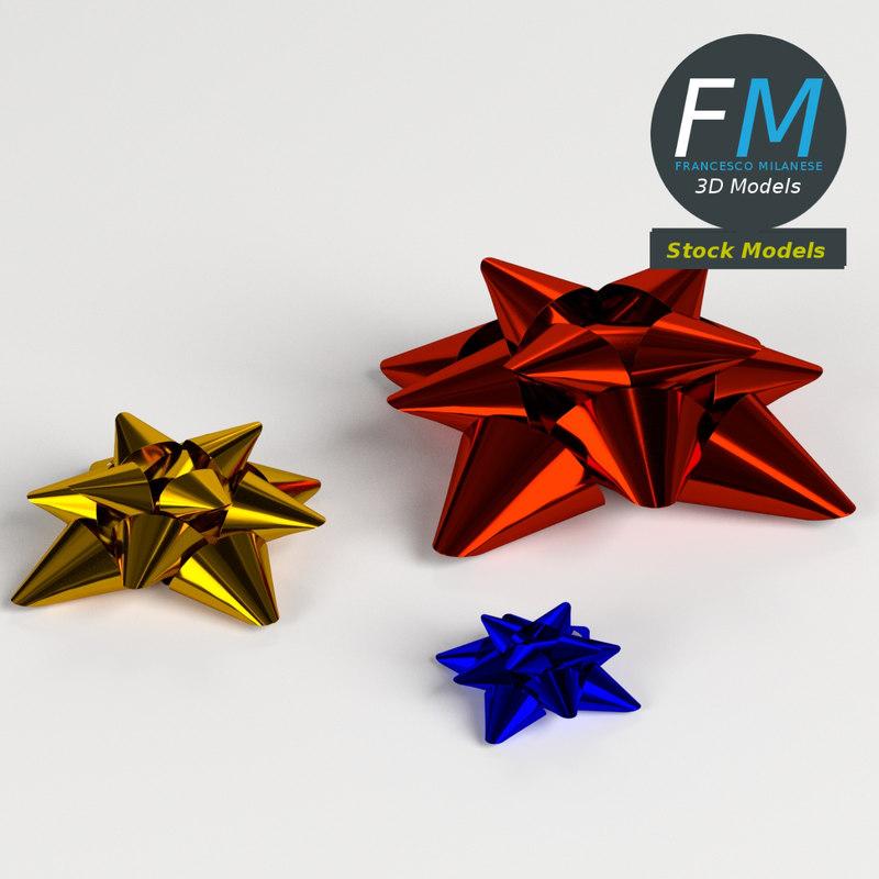 3D star bow ribbon