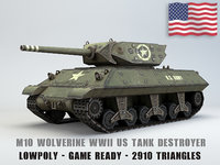 M10 Wolverine USA Tank Destroyer Lowpoly