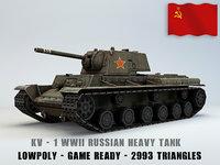 KV I Ussr Heavy Tank Lowpoly