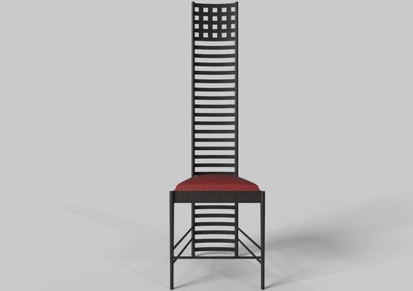 hill house chair charles rennie 3D