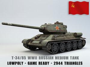 3D russian medium tank 85 model