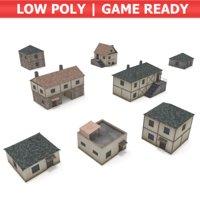 3D model pack medieval houses