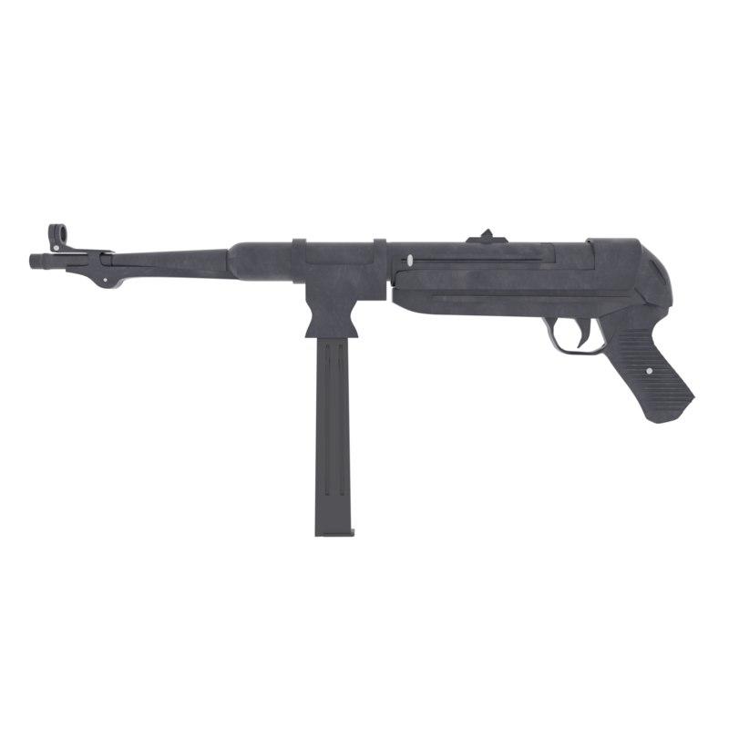 maschinenpistole 40 submachine gun 3D model