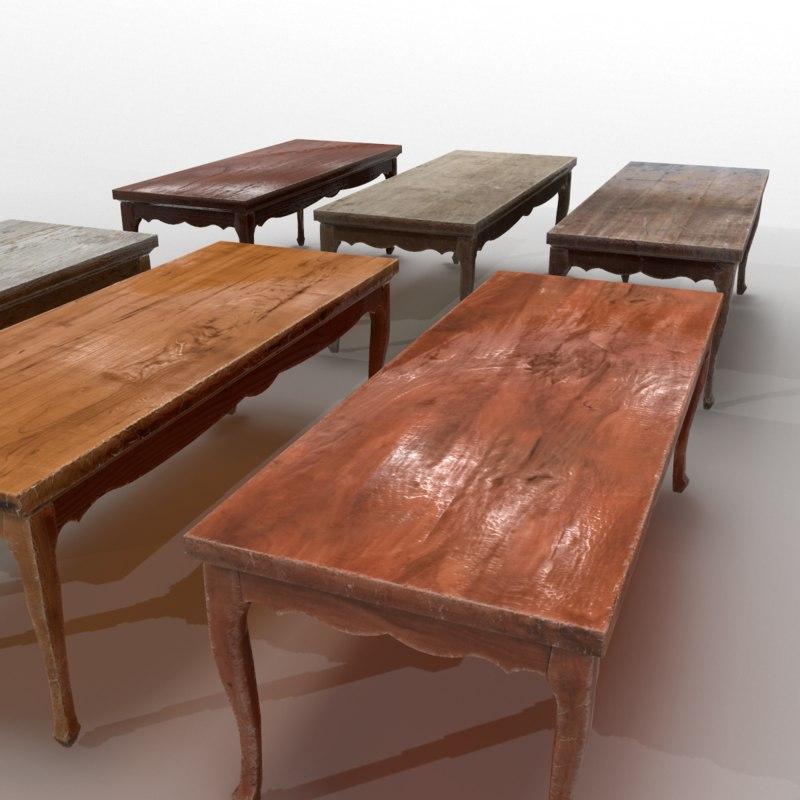 old wooden table 3d model 1148393 turbosquid