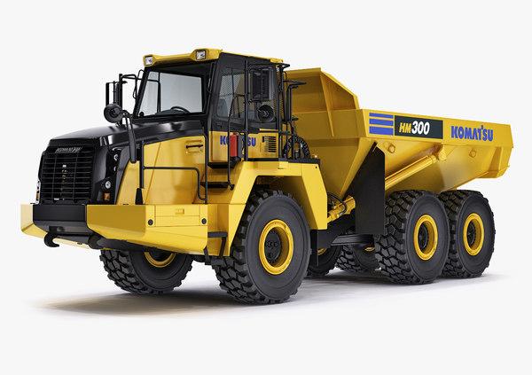 3d articulated truck komatsu hm300