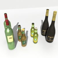 bottles wine beer juice 3D model