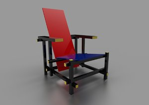 red blue chair gerrit 3D model