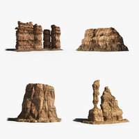 3d model of desert rocks