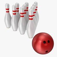 3D model bowling ball pins