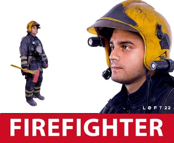firefighter real people 3d obj