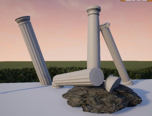 3D columns tuscan doric ionic