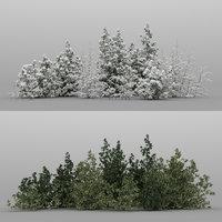 20 snowy garden bushes 3d max