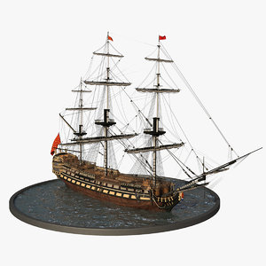3D galleon realistic prop
