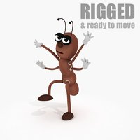 cartoon ant rig 3d model