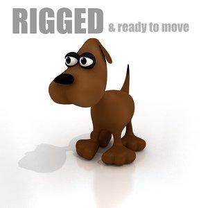 3d cartoon dog rigged