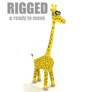 3d model cartoon giraffe rigged