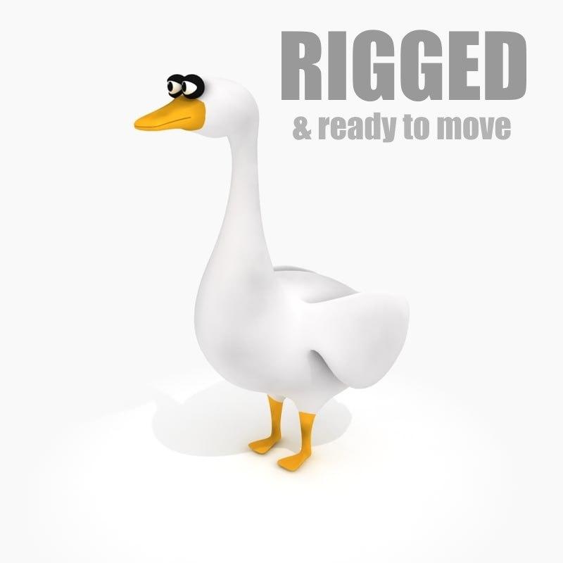 cartoon goose rig 3d obj