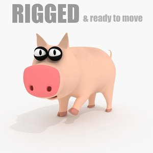 3d model of cartoon pig rig