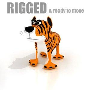 3ds max cartoon tiger rigged