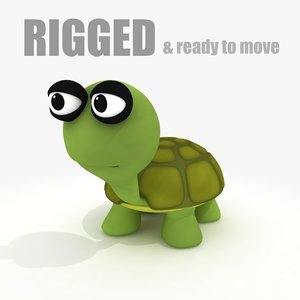 3d cartoon turtle rig model