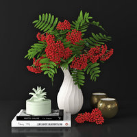 3D rowan vase decor model