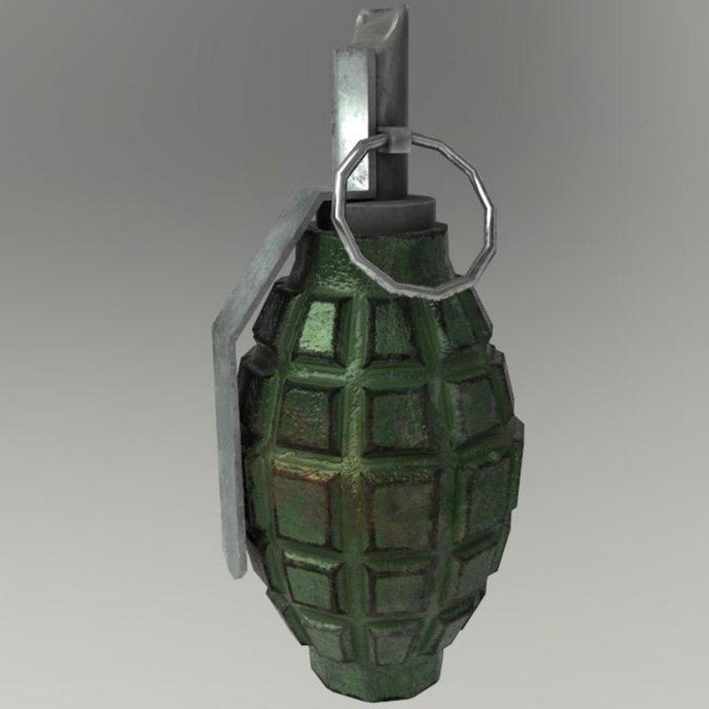 3D hand grenade pbr model
