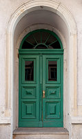 Wooden city door green