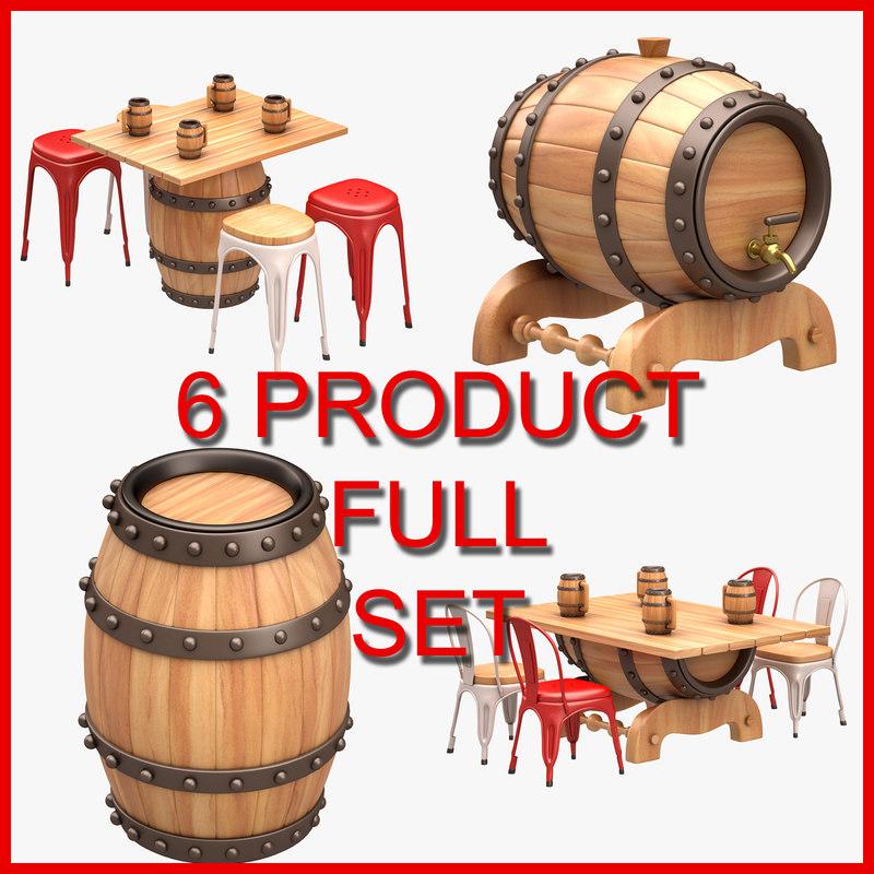 beer barrel set 3D