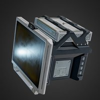 Sci-Fi Terminal Computer Monitor PBR low-poly