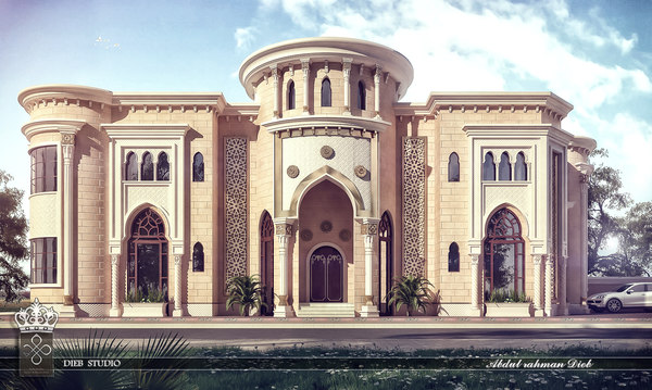 3D islamic-style villa model