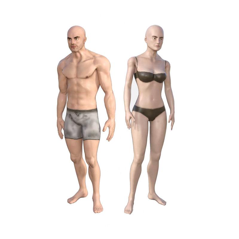 3D pack male base female model