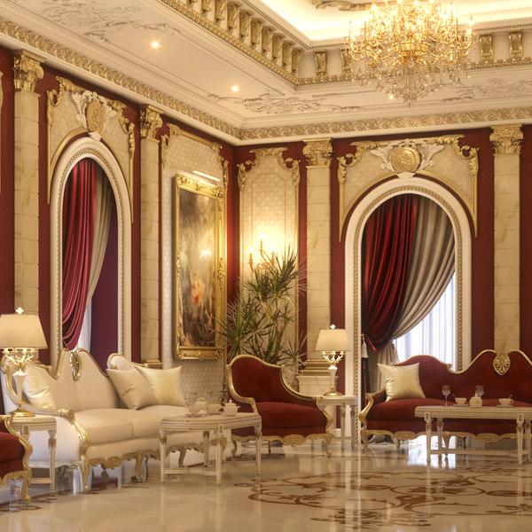 3d model scene reception interior