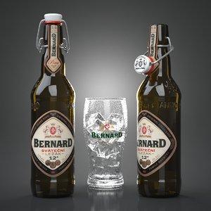 3d model of bernard svatecni beer bottles