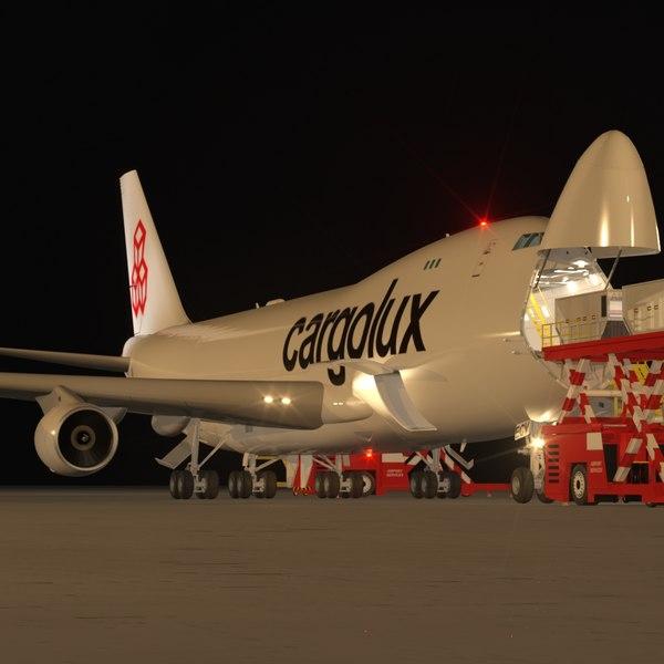 B 747-400F Cargolux Loading Operation Scene