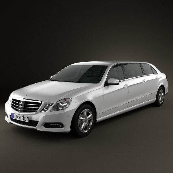 3dsmax mercedes binz e-class limousine