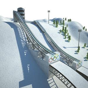 ski jumping center 3D model