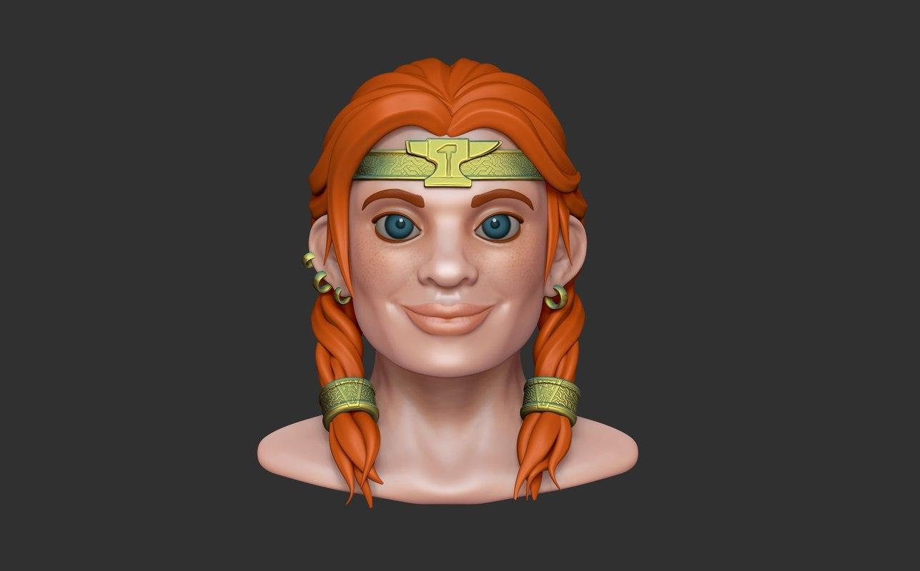 3D dwarf girl model