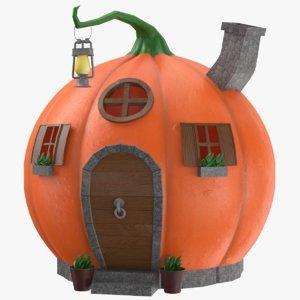 pumpkin cartoon house 3D model