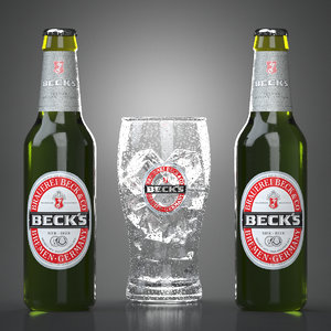 3d model beck s beer bottle