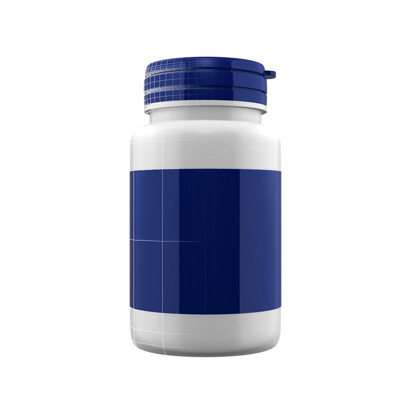 3d supplement bottle model
