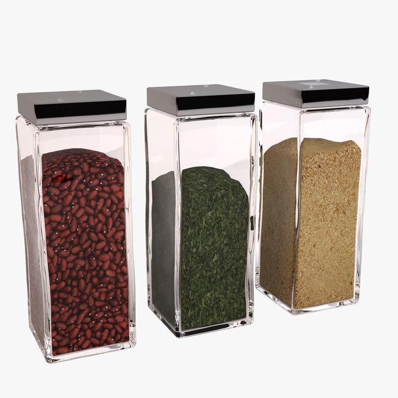 decorative glass jars 3ds