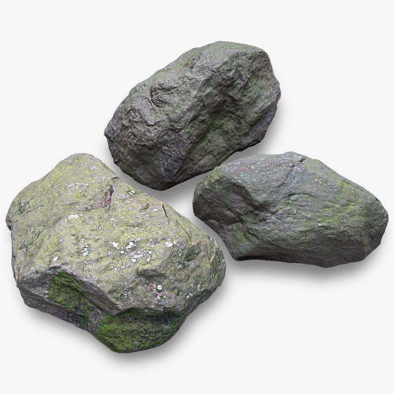 mossy stones 3D model