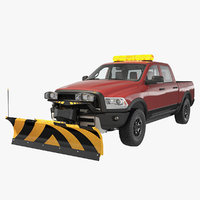 Pickup with Snow Plow Rigged 3D Model